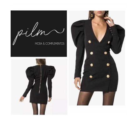 vestido-negro-cruzado-botones-manga-abullonada-cuello-pico-sexy-elegante-fashion-barato-rebajas-pilm