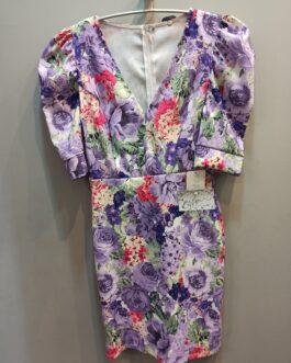 Vestido corto flores cuello pico mangas abullonadas.