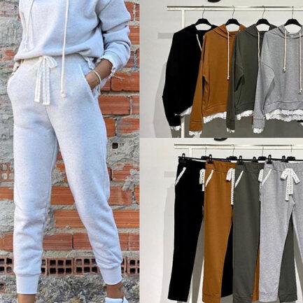 conjunto chandal sport dos piezas pantalon sudadera bajo bordados