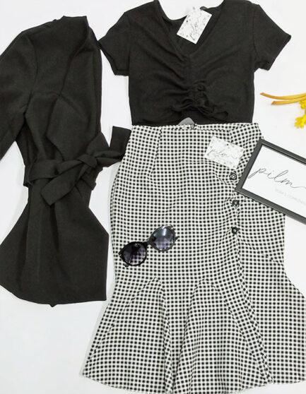 falda estampado cuadro vichy largo debajo rodilla con volante en el bajo y botones en el lateral izquierdo