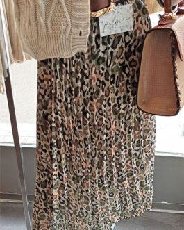 Falda plisada print leopardo