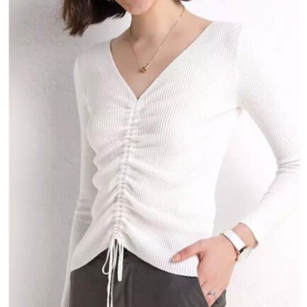 jersey punto blanco manga larga cuello pico fruncido delante canalé
