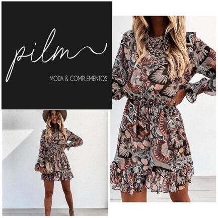 vestido corto estampado flores en tonos tierra manga larga cuello caja volante en puño y bajo vestido