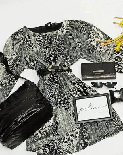 vestido estampado floral blanco y negro corto con cinturon doble hebilla va forrado low cost