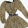 vestido estampado felino corto con cinturon doble hebilla va forrado low cost