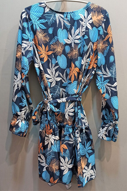 vestido hojas azules corto falda volantes puño fruncido cuello caja entretiempo