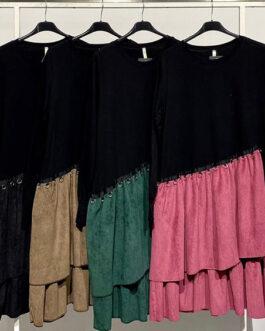 Vestido falda micropana