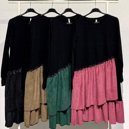 vestido falda asimétrica mircropana con volantes parte arriba negra