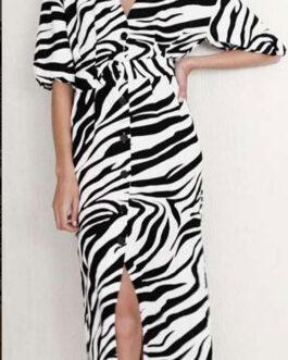 Vestido camisero midi cebra