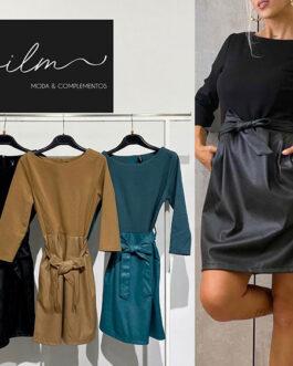 Vestido negro falda efecto piel