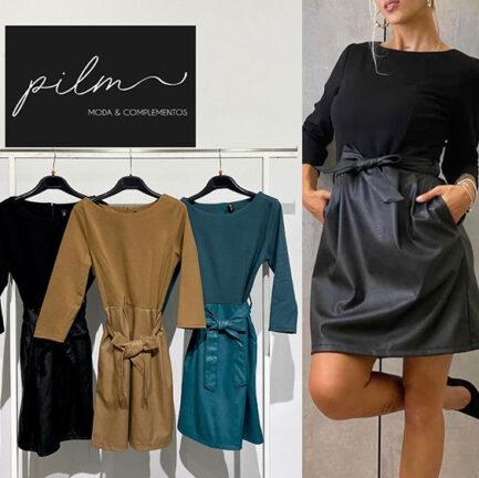 vestido negro falda efecto piel negro corta cinturon cuero manga larga cuello caja