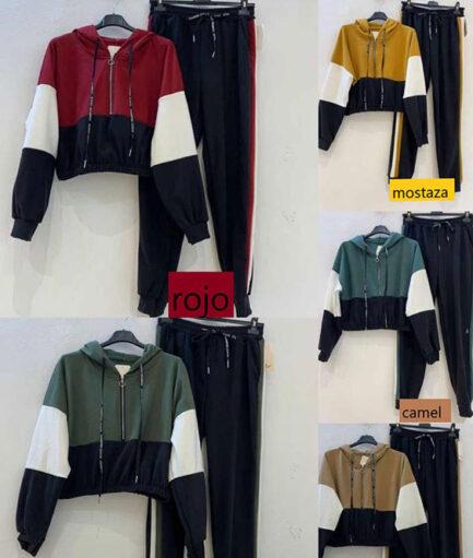 conjunto chandal tricolor low cost sudadera capucha pantalon banda lateral