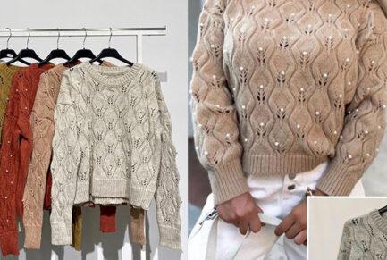 jersey cuello caja perlas corte regular calentito low cost