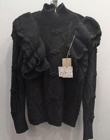 jersey punto mujer negro doble volante hombro cuello medio corte regular