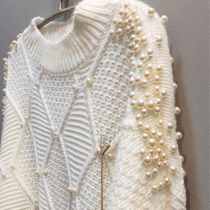 jersey punto mujer blanco detalles perlas cuello medio corte regular