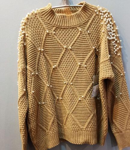 jersey punto mujer camel detalles perlas cuello medio corte regular