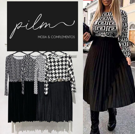 vestido midi falda plisada negra aterciopelado parte arriba bicolor blanco y negro