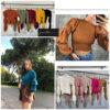 jersey mangas abullonada ajustado al cuerpo cuello caja