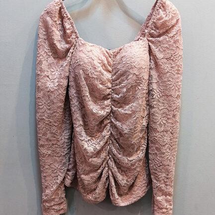 Top rosa encaje escote cuadrado manga larga cuerpo drapeado lleva forro