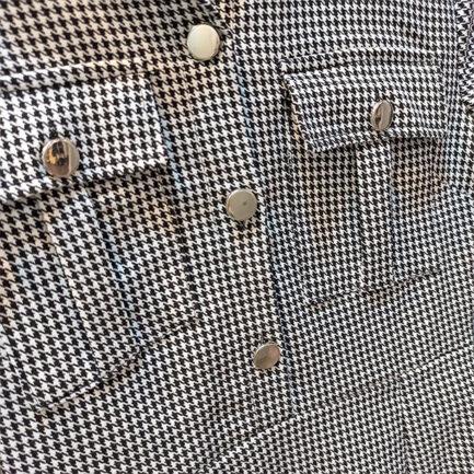 vestido pata gallo pequeña bolsillos tapeta ajustado y corto