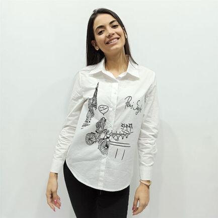 camisa blanca mujer algodon dibujo paris lineal negro