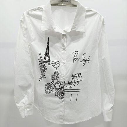 camisa blanca popelin mujer dibujo paris manga larga corte regular
