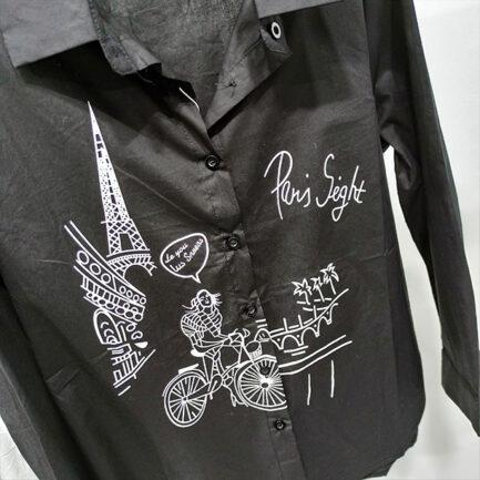 camisa negra popelin mujer dibujo paris manga larga corte regular