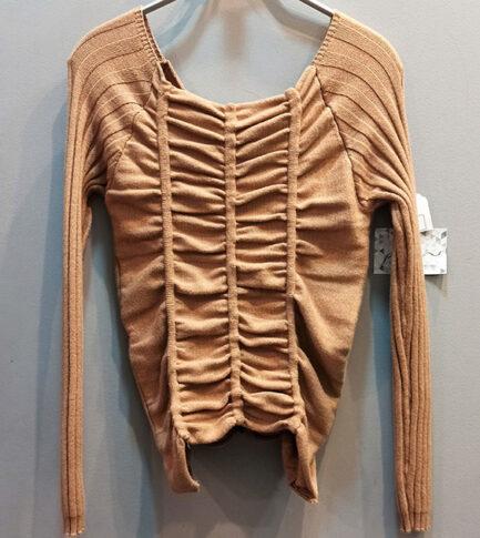 jersey punto camel fruncido drapeado escote cuadrado comodo calentito low cost