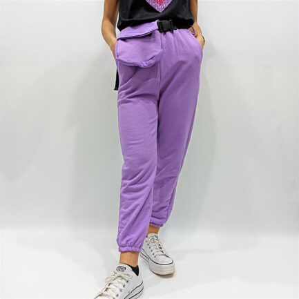 pantalon chandal sport chic malva con rinonera y cinturon regulable goma en cintura y puno