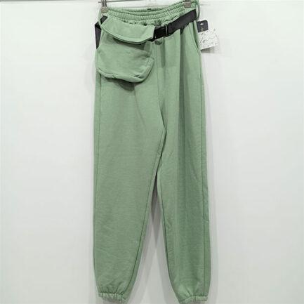 pantalon chandal sport chic verde menta con rinonera y cinturon regulable goma en cintura y puno