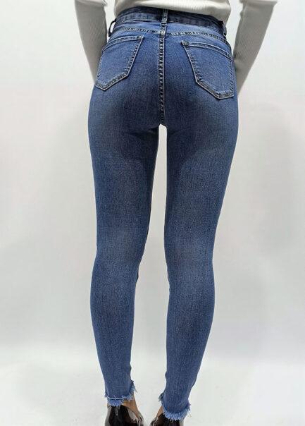 vaquero skinny bajo deshilachado azul denim tiro alto comodo y elastico