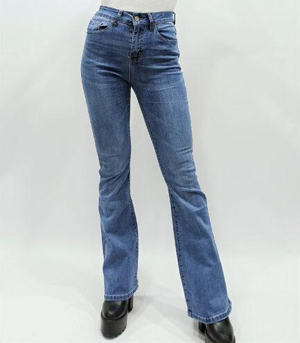 vaquero campana azul mujer tiro alto elastico cinco bolsillos