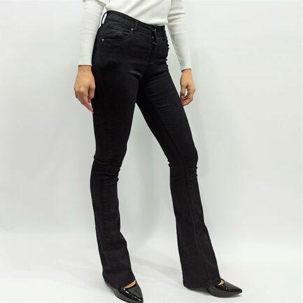 vaquero negro campana flare mujer tiro alto elastico moda low cost