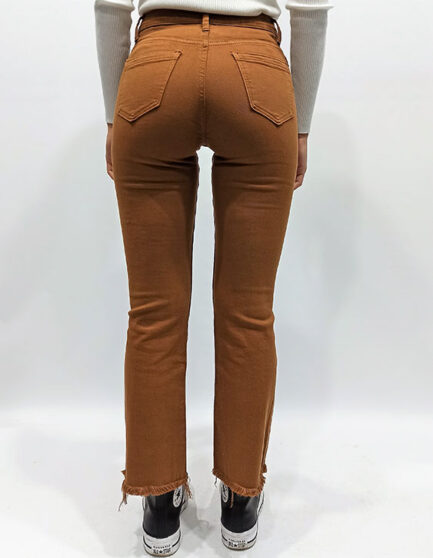 vaquero camel mujer skinny flare tiro alto lleva elastan comodo confortable y de tendencia