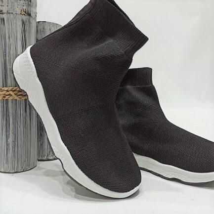 botin negro calcetin elastico mujer suela blanca economico