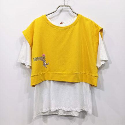 chaleco sudadera corta amarilla cuello caja mas basica manga corta en algodón