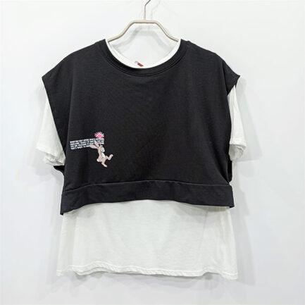 chaleco sudadera corta negro cuello caja mas basica manga corta en algodón
