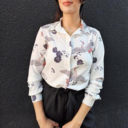 camisa mujer entallada estampado tigre con cuello solapa y manga larga