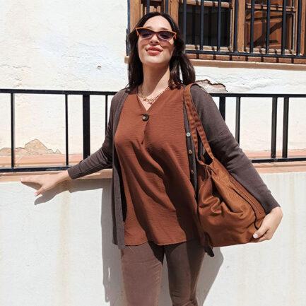 cárdigan punto mujer en color marrón