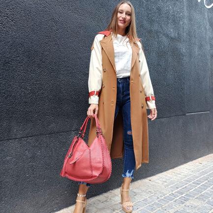 gabardina larga tricolor mujer color camel cruzada cuello solapa bolsillos delanteros y cinturón