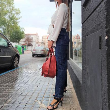 vaquero mujer azul wide leg tiro alto pernera ancha