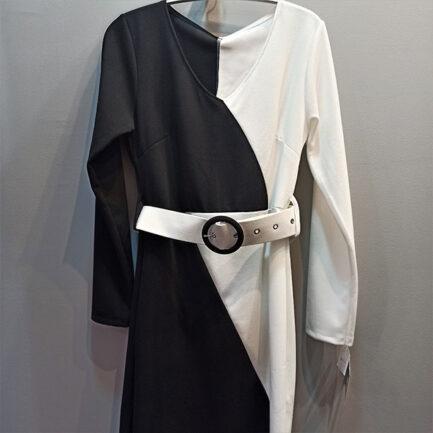 vestido bicolor blanco y negro manga larga cuello pico ajustado al cuerpo con cinturón