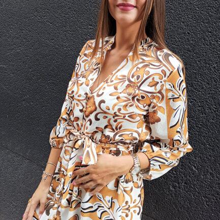 vestido corto estampado damasco en color mostaza manga larga cuello mao