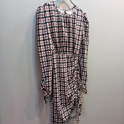vestido cuadros vichy corto manga larga y la falda se puede fruncir